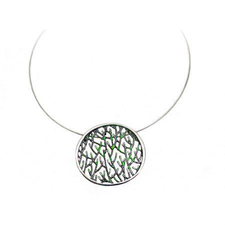 colgante de plata Orfega colección Ramas pequeño verde