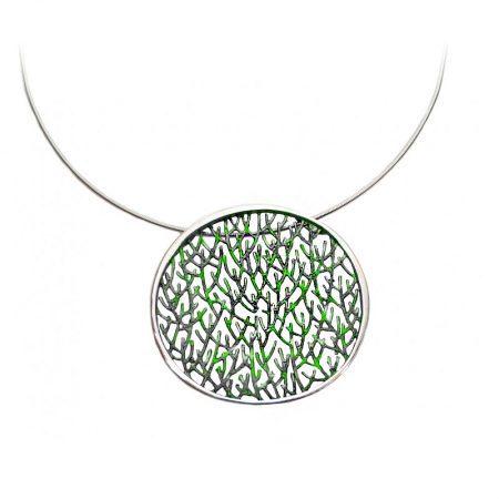 colgante de plata Orfega colección Ramas grande verde
