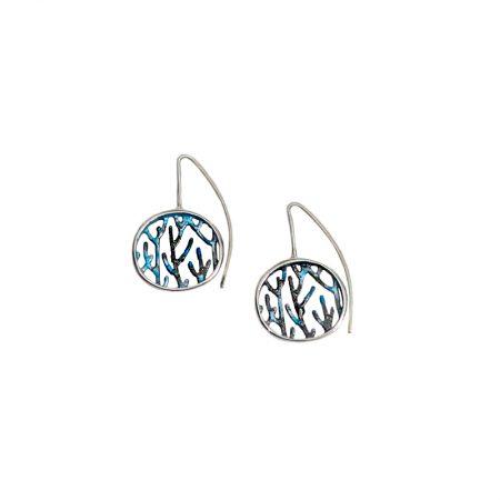 Pendientes plata Orfega colección Ramas con gancho medianos Azules