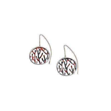 Pendientes plata Orfega colección Ramas con gancho medianos rojos
