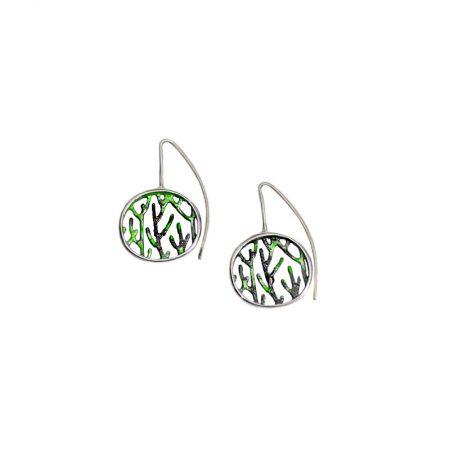 Pendientes plata Orfega colección Ramas con gancho medianos verdes