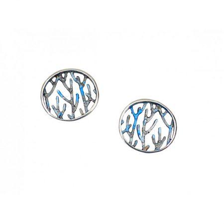 Pendientes plata Orfega colección Ramas medianos Azul