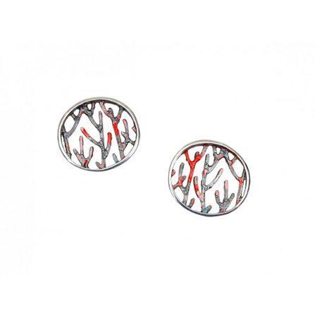 Pendientes plata Orfega colección Ramas medianos rojos