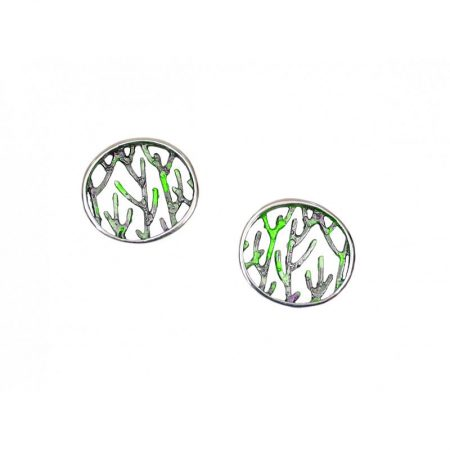 Pendientes plata Orfega colección Ramas medianos verdes