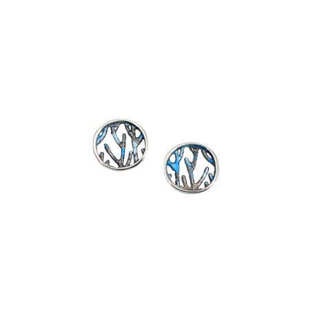 Pendientes plata Orfega colección Ramas pequeños Azul