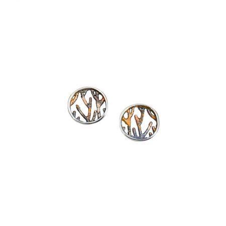 Pendientes plata Orfega colección Ramas pequeños oro rosa