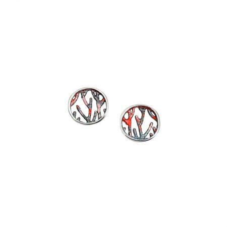 Pendientes plata Orfega colección Ramas pequeños rojo