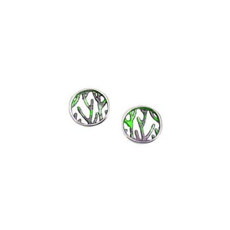 Pendientes plata Orfega colección Ramas pequeños Verde