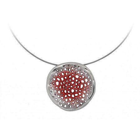 Colgante de plata Orfega colección Micro pequeño Rojo