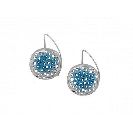 Pendientes de plata Orfega colección Micro con gancho grande Azul