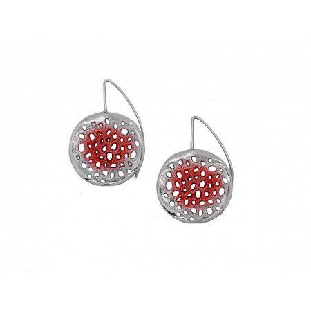 Pendientes de plata Orfega colección Micro con gancho grande Rojo