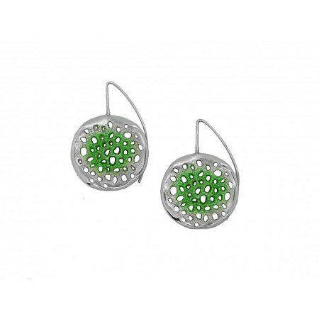 Pendientes de plata Orfega colección Micro con gancho grande Verde