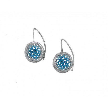 Pendientes de plata Orfega colección Micro con gancho mediano Azul