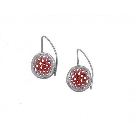 Pendientes de plata Orfega colección Micro con gancho mediano Rojo