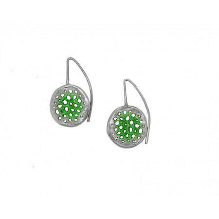 Pendientes de plata Orfega colección Micro con gancho mediano Verde
