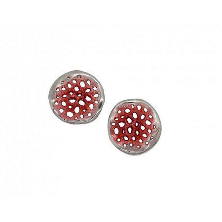 Pendientes de plata Orfega colección Micro mediano Rojo