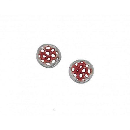 Pendientes de plata Orfega colección Micro pequeño rojo