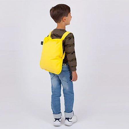 Bolsa-mochila plegable para niños Amarilla