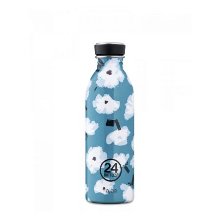 Botella ultraligera 24 bottles de acero inoxidable edición especial flores blancas sobre fondo azul