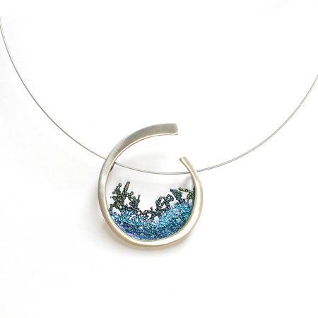 Colgande en plata de diseño Orfega colección atlántica en azul