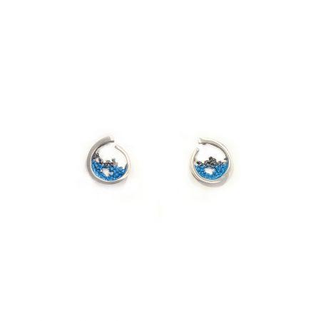 Pendientes de plata Orfega colección Atlántica coral color azul pequeños