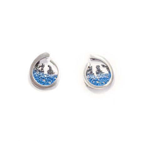 Pendientes de plata Orfega colección Atlántica coral color azul medianos