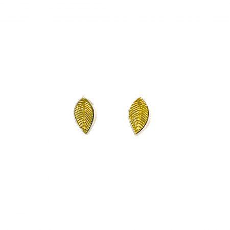 """Juego de pendientes pequeños Orfega de la colección """"Fosil"""" en plata de 1a ley 925 y pigmentos naturales metálicos en color oro"""