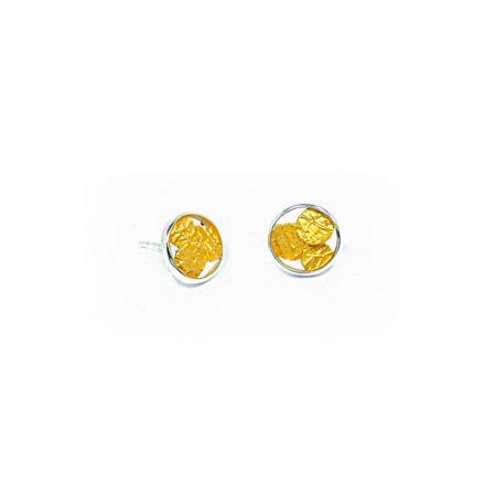 """Juego de pendientes pequeños Orfega de la colección """"Sisma"""" en plata de 1a ley 925 y pigmentos naturales metálicos en colores oro"""