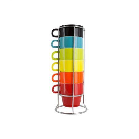 Tazas de café de colores apilables de pylones en torre de acero inoxidable