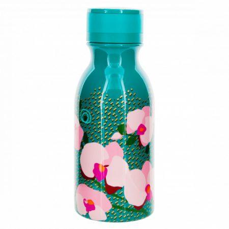 botella termo mini keep cool de 40 cl Jardín de flores Orquidia Turquesa