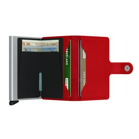 Cartera SECRID Miniwallet automática anticopia CRISPLE color rojo abierta