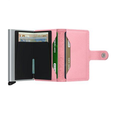 Cartera SECRID Miniwallet automática anticopia CRISPLE color pink abierta