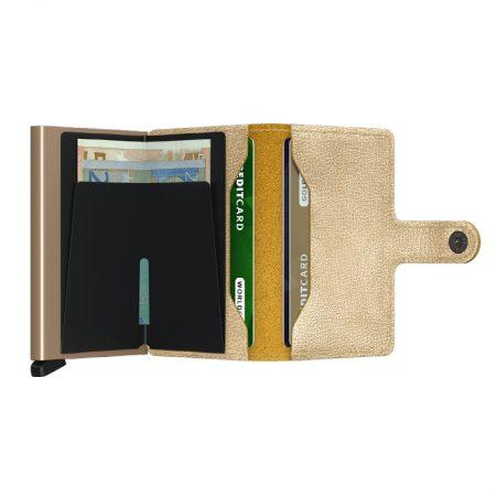 Cartera SECRID Miniwallet automática anticopia CRISPLE Oro antiguo abierta