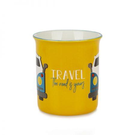 "Taza cerámica Vintage ""Travel"" con dibujo de furgoneta"