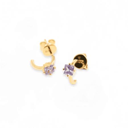 Pendientes Lavender Lis bañados en Oro 18k y cierre de tuerca P d Paola