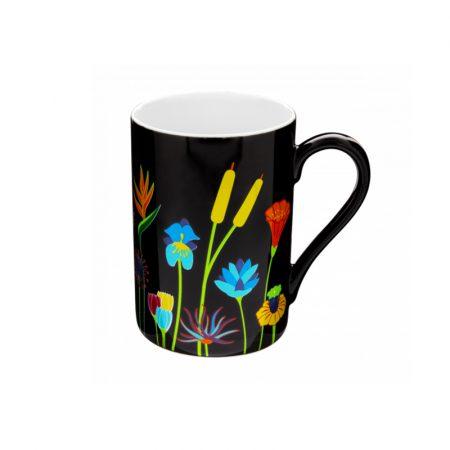 Taza mug Original estampados Pylones Jardín de flores negro
