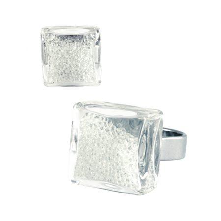 anillo Cuadrado mini bolas bolitas cristal transparente Pylones