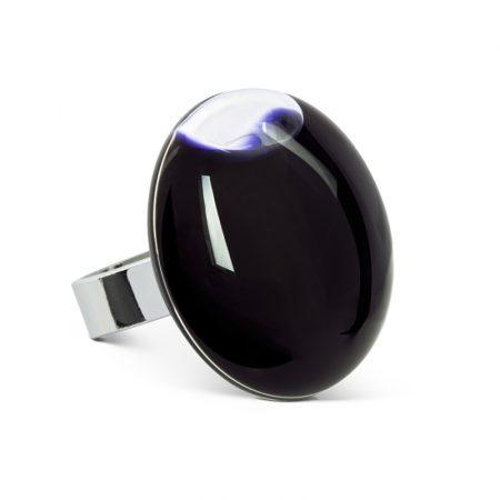 anillo Galet medium liquido negro Pylones