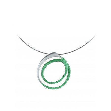 colgante plata Orfega mediano verde Oba