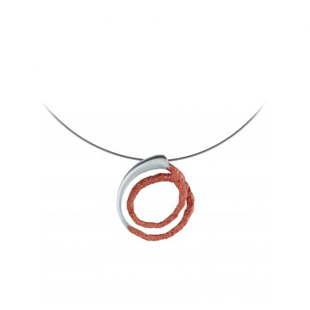 colgante plata Orfega pequeno rojo Oba