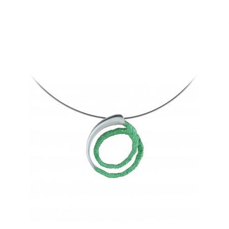 colgante plata Orfega pequeno verde Oba