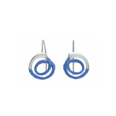 pendientes gancho plata Orfega mediano azul Oba