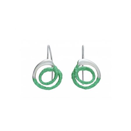 pendientes gancho plata Orfega mediano verde Oba