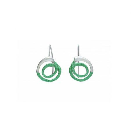 pendientes gancho plata Orfega pequeno verde Oba