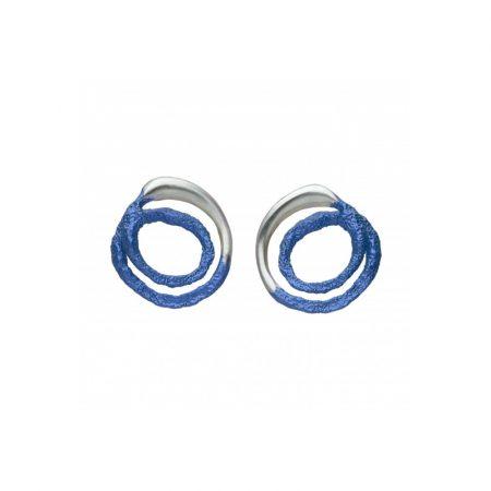 pendientes presion plata Orfega mediano azul Oba