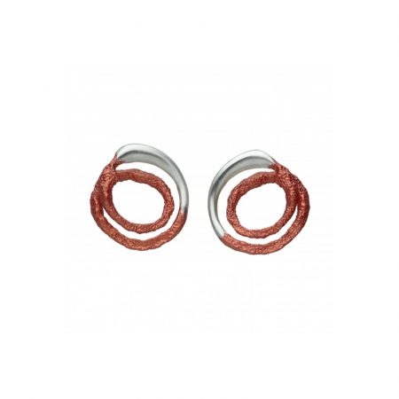 pendientes presion plata Orfega mediano rojo Oba