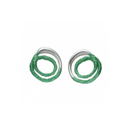 pendientes presion plata Orfega mediano verde Oba