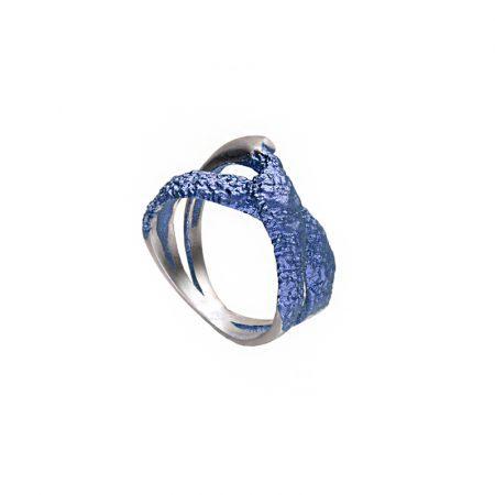 Anillo de plata Orfega, colección OBA, azul 12