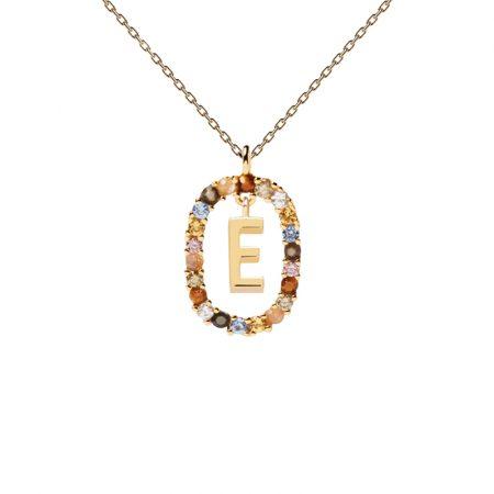 Collar letra E, oro plata y piedras de P de Paola
