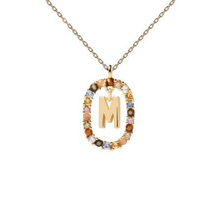 Collar letra M, oro plata y piedras de P de Paola